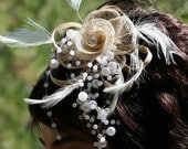 Dream Girl-----Unique handmade Modern Mesh flower hair clip embraced with pearls and feathers-------%20 OFF,entire store for a limited time....Coupon code ( HelloSpring11)------Receive a Beautiful GIFT, when.........