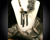 Elegant Lady----Victorian style Beads,ribbon and flower necklace and Brooch set---------------%20 OFF,entire store for a limited time....Coupon code ( HelloSpring11)------Receive a Beautiful GIFT, when.........