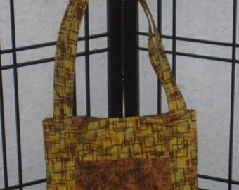 Olive green and brown tote bag