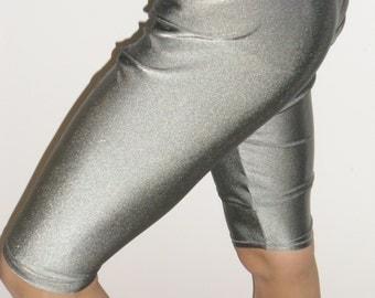 Shiny gray spandex leggings-any size
