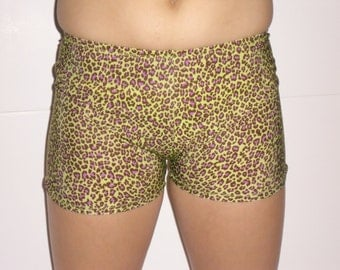 Women's spandex shorts-green leopard print-any size
