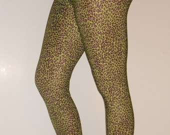 Spandex leggings-any adult size-green leopard print