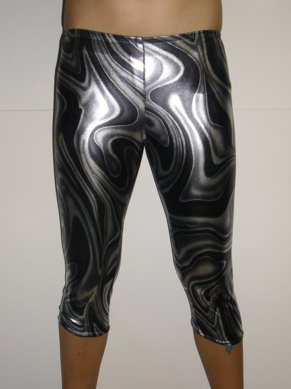 Silver and black metallic spandex leggings-any size