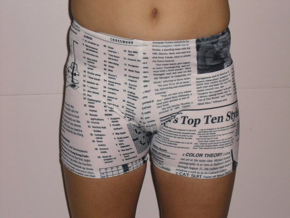 Spandex shorts- newspaper print- any adult size