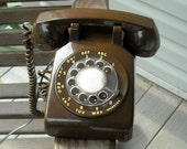 Vintage Rotary Dial Telephone Chocolate Brown Southwestern Bell Phone