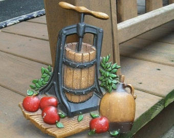 Vintage Homco Metal Wall Hangings Apple Press Corn Sheller