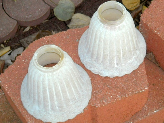 Vintage Lamp Globes Whitewashed Cottage Chic Painted
