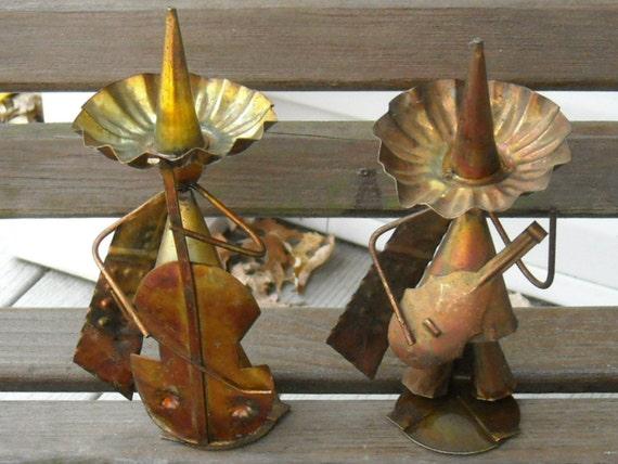Retro Metal Artwork Metal Mexican Musicians Collectible Figurines Sombreros