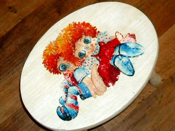 Retro Footstool Raggedy Ann Andy Handpainted Handmade Vintage Wooden
