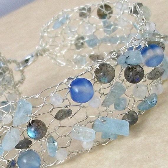 Aqueous Lace, Sterling Bracelet with Aquamarine, Labradorite, Rainbow Moonstone, & Dyed Chalcedony