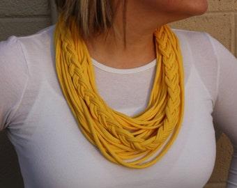 Infinity Scarf, Womens Scarves, Braided Tshirt Scarf, Yellow Scarf