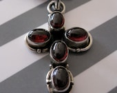 Sterling Silver & Garnet Gemstone Cross Necklace for Women, Gift for Her, Handmade Jewelry on Etsy, OOAK, January Birthstone