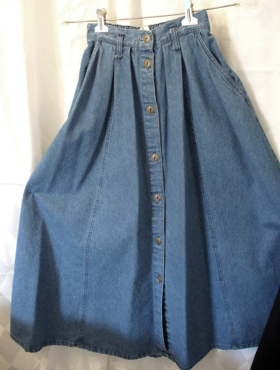 Etsy Vintage Skirt - Denim Skirt - Vintage Denim Skirt - Skirt - Denim - Women's Clothing