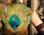 Nuno - felted wool vest - peacock feather - elven clothing - merino wool - MADE TO ORDER