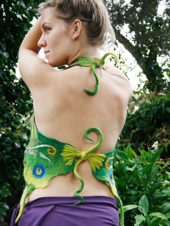 Nuno felted clothing - felt halter top - silk and wool green forest butterfly MADE TO ORDER