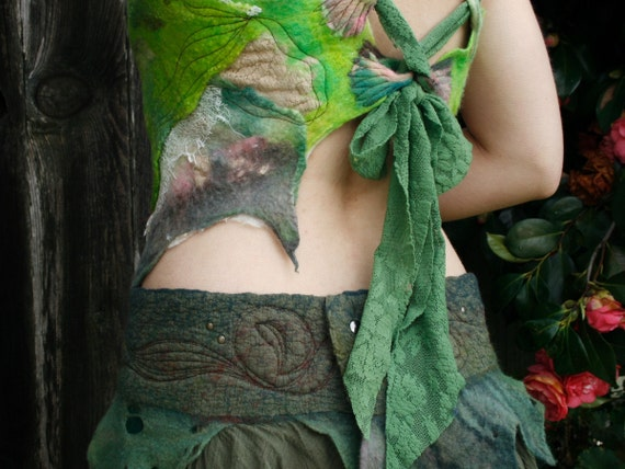 Nuno felted clothing -felted clothes - felt and ribbon back tie top - wool and lace in Woodland Grass
