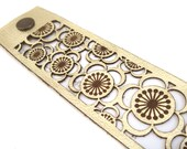 Metallic gold leather cherry blossom laser cut cuff bracelet