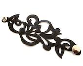 Black leather cuff bracelet - laser cut swirl design