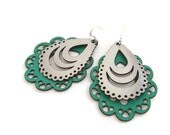 Laser cut leather earrings - filigree design in silver and green
