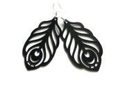 Peacock feather earrings - laser cut in black