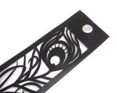 Black leather cuff - Laser cut peacock feather leather bracelet