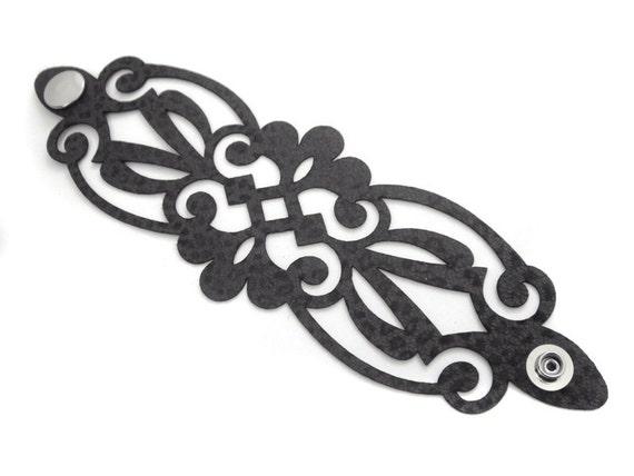 Leather cuff bracelet laser cut in grey leather