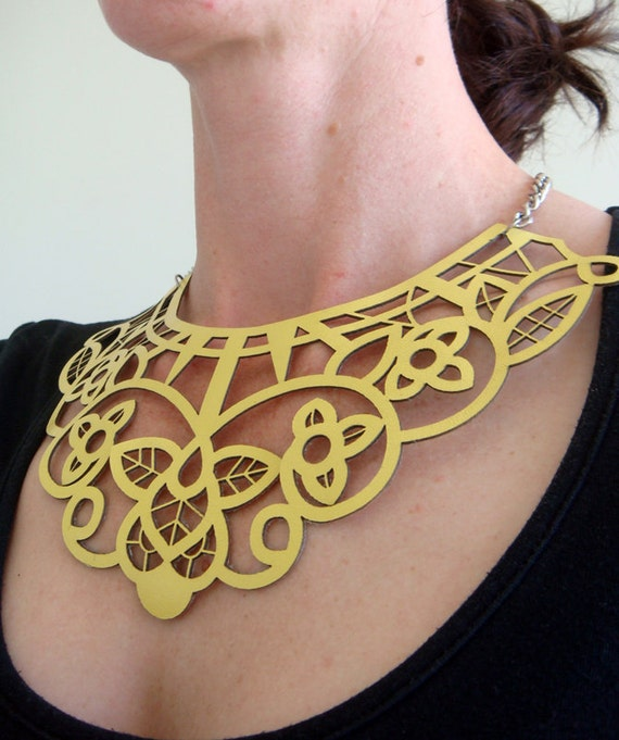 Items Similar To Yellow Leather Necklace Laser Cut Lace