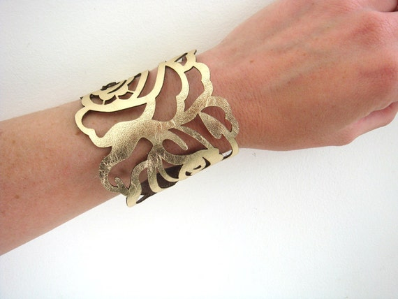 Leather cuff bracelet - laser cut rose in metallic gold