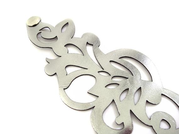 Leather cuff bracelet in antique silver - laser cut swirl design