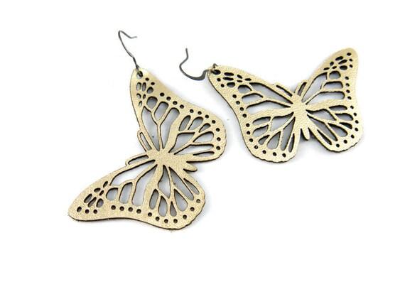 Butterfly earrings  - laser cut earrings in gold leather
