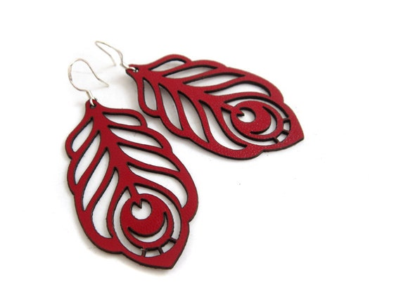 Peacock feather earrings in dark red leather