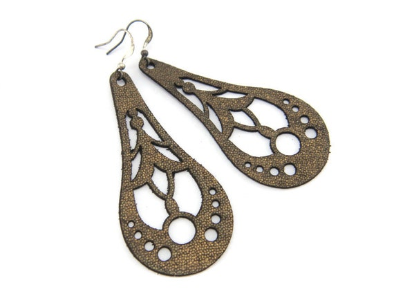 Antique gold earrings  - laser cut leather drop earrings