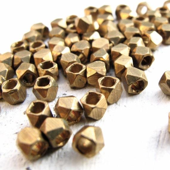 BRASS BEADS - diamond  - 3mm - 25 pc