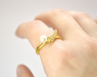 FREE SHIPPING-pearl and wing ring-sterling silver-gold plated-made to order