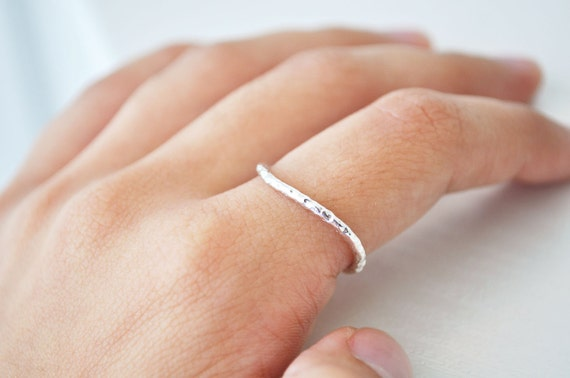 simple hammered sterling silver ring- FREE SHIPPING