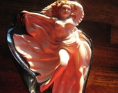 Vintage Collectible Ashtray Nude Lady Cigar Red Head