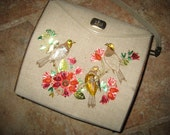 VINTAGE RETRO BEADED Dazzling Handbag Bag Jewels Linen Wood Chic 1970s