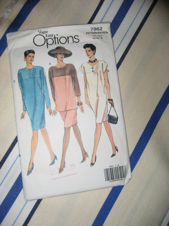 VINTAGE VOGUE OPTIONS Very Easy Dress Tunic Skirt Sewing Pattern  Sz 14 16 18