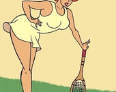That was on the line - Tennis - 4 x 6 art print