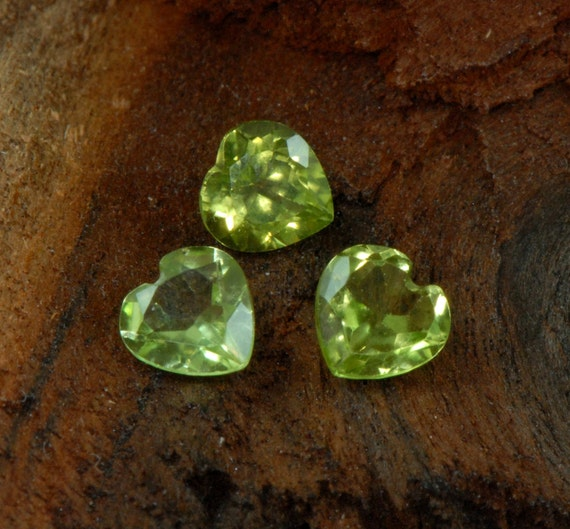 Peridot matched set facetted heart cut natural gemstones 1.40 cts TCW