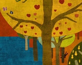 SITTING on the TREE - art print // colorful digital illustration