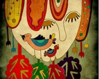 GIRL in WONDERLAND - face illustration // red green digital art // home decoration