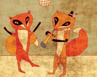 FOX PARTY - art print // cute fox illustration // orange trumpet dance disco home decor