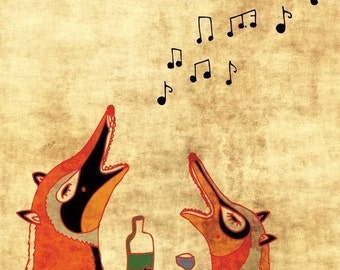 FOX FUN  - art print // cute fox illustration // orange home decor