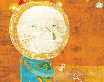 LION art print - orange nursery illustration // wall decor // lion playing cards