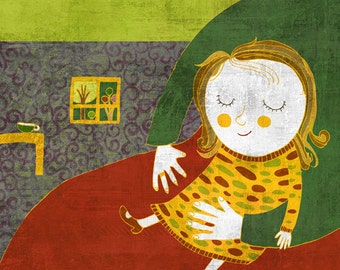 LITTLE GIRL art print // digital illustration // green red yellow home decor