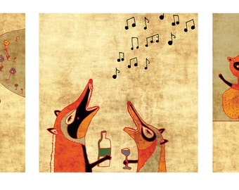SALE the 3 FOX PRINTS // art print // cute fox illustration // orange black home decor