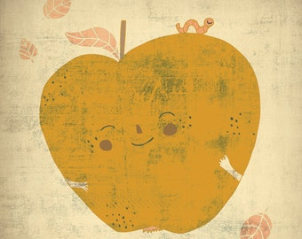 APPLE art print // digital illustration // yellow kitchen wall decor