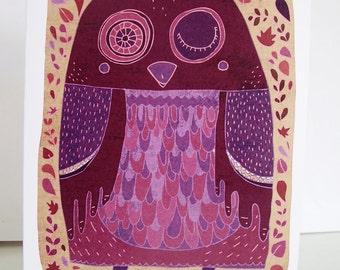 Owl card // purple greeting card