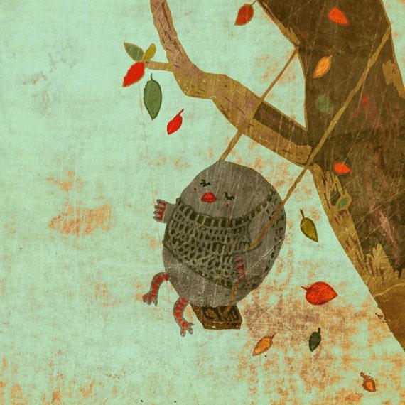AUTUMN SWING - art print // birdie owl tree autumn illustration // mint brown green // home decor // nursery